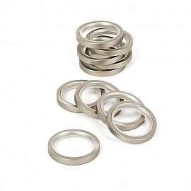 Комплект колец бесшумных с прямоугольным сечением для металлического карниза, хром матовый, №10, диаметр 16 мм