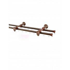 Карниз профильный металлический стыкованный Капри, 2-рядный, коричневый, 240 см
