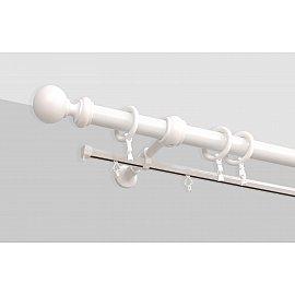 Карниз металлический стыкованный Каро, 2-рядный, белый мрамор, 240 см, ø 16 мм