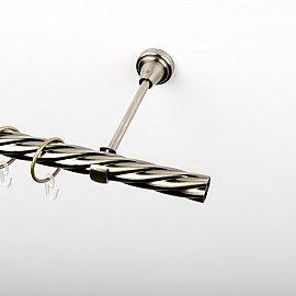Карниз металлический стыкованный, 1-рядный, золото антик, крученая труба, 200 см, ø 25 мм
