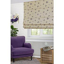 """Римская штора макси """"Coimbra"""", фиолетовые птицы lila (40), ширина 120 см"""