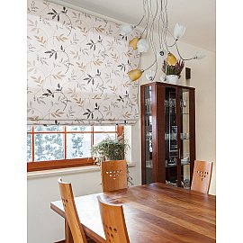 """Римская штора мини """"Flora"""", бежево-коричневый, ширина 73 см"""