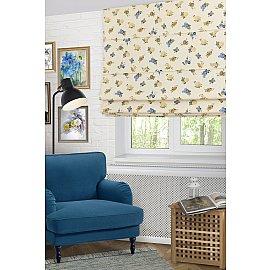"""Римская штора макси """"Lanus Saten Coor"""", синие цветы (azul) 15, ширина 160 см"""