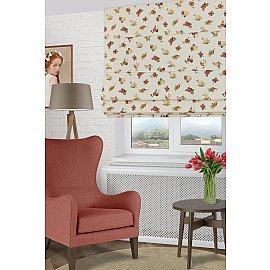 """Римская штора макси """"Lanus Saten Coor"""", бордовые цветы (rojo) 12, ширина 120 см"""
