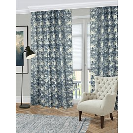 Комплект штор Gura, синий в листья (azul), 160*270 см