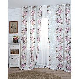 Комплект штор Flowers-16, цикламен цветы, 160*270 см