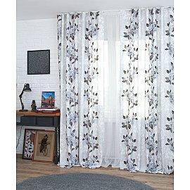 Комплект штор Flowers-21, серые цветы, 160*250 см