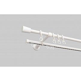 Карниз металлический стыкованный Турин, 2-рядный, белый иней, 240 см, ø 16 мм