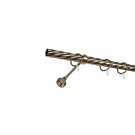 Карниз металлический 1-рядный золото антик, крученая труба, 240 см, ø25 мм