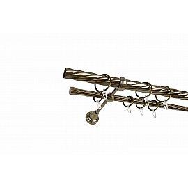 Карниз металлический 2-рядный золото антик, крученая труба, 240 см, ø25 мм
