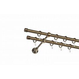 Карниз металлический 2-рядный золото антик, гладкая труба, 160 см, ø16 мм