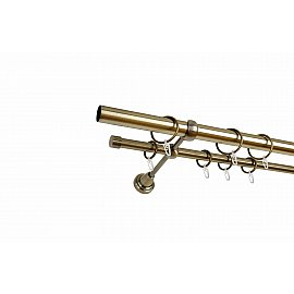 Карниз металлический 2-рядный золото антик, гладкая труба, 240 см, ø25 мм