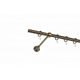 Карниз металлический 1-рядный золото антик, крученая труба, 160 см, ø16 мм