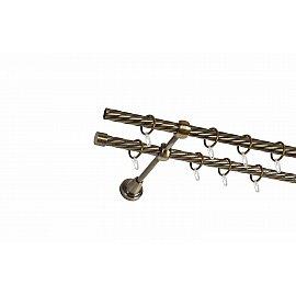 Карниз металлический 2-рядный золото антик, крученая труба, ø16 мм