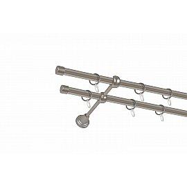 Карниз металлический 2-рядный хром матовый, гладкая труба, 200 см, ø16 мм