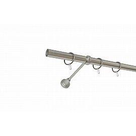 Карниз металлический 1-рядный хром матовый, гладкая труба, 180 см, ø25 мм