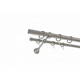 Карниз металлический 2-рядный хром матовый, гладкая труба, 240 см, ø25 мм