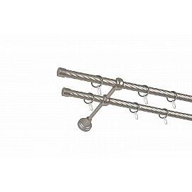 Карниз металлический 2-рядный хром матовый, крученая труба, 240 см, ø16 мм