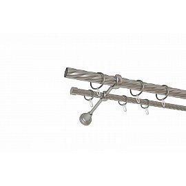 Карниз металлический 2-рядный хром матовый, крученая труба, 300 см, ø25 мм