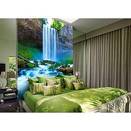 "Фотопанно холст ""Водопад над речкой"", 200*270 см"