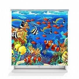 """Рулонная штора ролло лен """"Подводный мир"""", 140 см"""