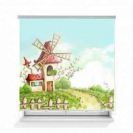 "Рулонная штора ролло термоблэкаут ""Волшебная мельница"", 160 см"