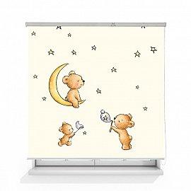 """Рулонная штора ролло лен """"Мишка на луне"""", 160 см"""