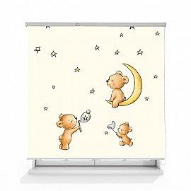 "Рулонная штора ролло термоблэкаут ""Мишка на луне-2"", 120 см"