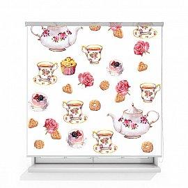 """Рулонная штора ролло лен """"Чай с пирожными"""", 120 см"""