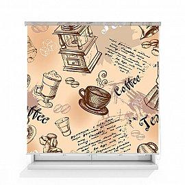 """Рулонная штора ролло лен """"Кофейный принт"""", 160 см"""
