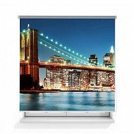 "Рулонная штора ролло лен ""Бруклинский мост"", 140 см"