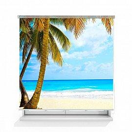 """Рулонная штора ролло лен """"Тропический пляж"""", 160 см"""