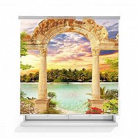 """Рулонная штора ролло лен """"Античная арка"""", 140 см"""