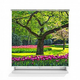 "Рулонная штора ролло лен ""Дерево в саду"", 120 см"