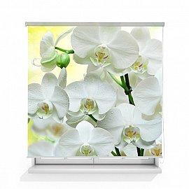 """Рулонная штора ролло термоблэкаут """"Белая орхидея"""", 140 см"""