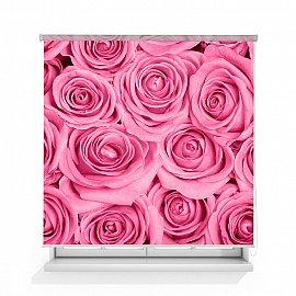 """Рулонная штора ролло лен """"Розы розовые фон"""", 120 см"""
