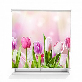 "Рулонная штора ролло лен ""Тюльпаны"", 120 см"
