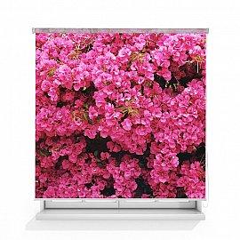 """Рулонная штора ролло лен """"Стена цветов"""", 140 см"""