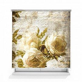 """Рулонная штора ролло лен """"Розы винтаж"""", 120 см"""