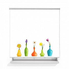 """Рулонная штора ролло лен """"Цветы в вазах"""", 120 см"""