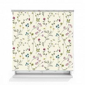 """Рулонная штора ролло лен """"Цветочный орнамент"""", 120 см"""