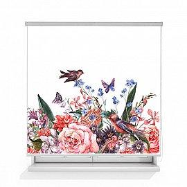 """Рулонная штора ролло термоблэкаут """"Птицы на цветах"""", 140 см"""
