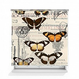 """Рулонная штора ролло лен """"Бабочки"""", 120 см"""
