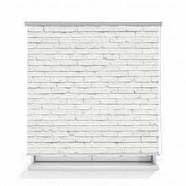 """Рулонная штора ролло термоблэкаут """"Кирпичная стена белая"""", 160 см"""