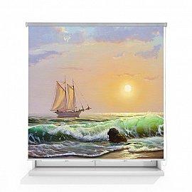 """Рулонная штора ролло лен """"Морской пейзаж"""", 160 см"""