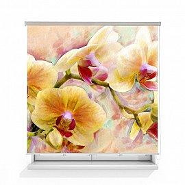 """Рулонная штора ролло термоблэкаут """"Орхидея живопись"""", 120 см"""
