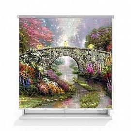 """Рулонная штора ролло лен """"Волшебный мост живопись"""", 140 см"""