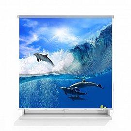 """Рулонная штора ролло термоблэкаут """"Дельфины в волнах"""", 120 см"""