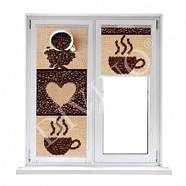 """Рулонная штора лен """"Кофейные зерна"""", 62 см"""