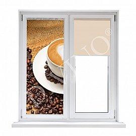 """Рулонная штора лен """"Чашка кофе"""", 62 см"""